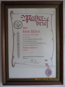 Meisterbrief von Sven Häfner